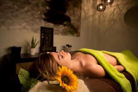 beauty center: Beautiful woman at beauty center and spa - Soft Light