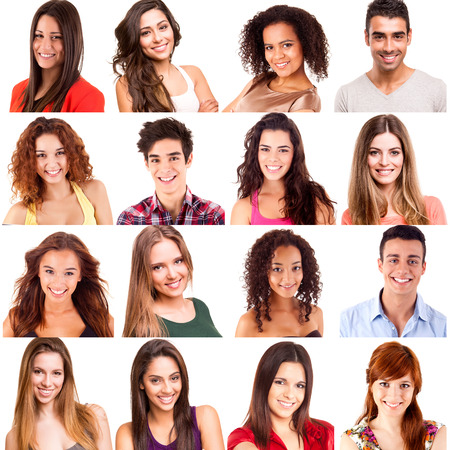 Collage of different men and women portraits photo