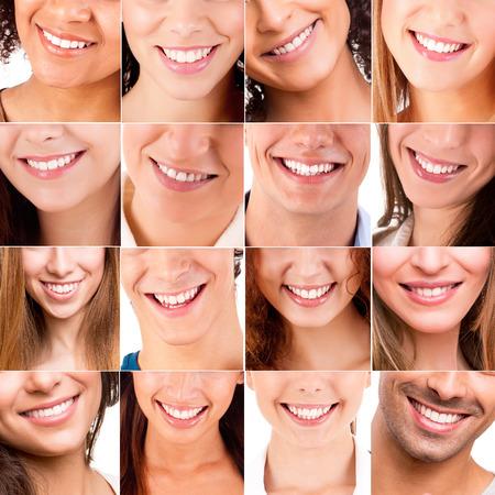 Collage, fait de beaucoup de sourires différents Banque d'images