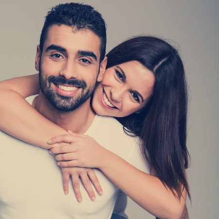 Portrait of a funny love couple hugging each other Stock Photo - 29221995