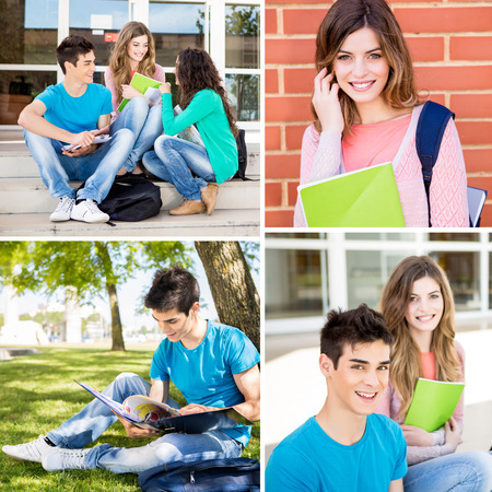 Collage of happy students in school campus photo