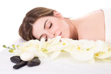 beauty center: Beautiful woman at beauty center and spa