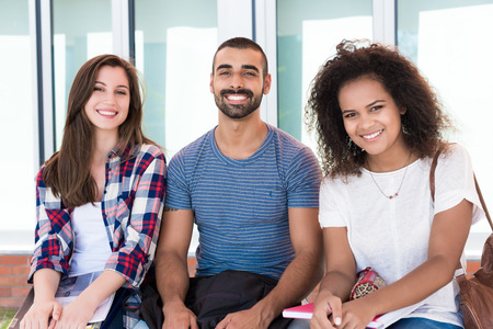 students group: Multi-Ethnic group of students in School Campus
