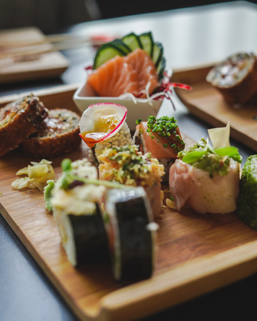 Sushi and Japanese Food on the table at restaurant