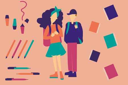 Couple of students on pattern of welcome back to school background