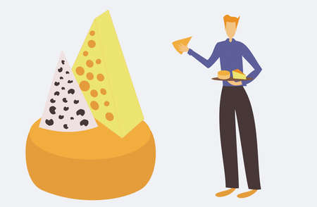 Illustration of cheese seller presenting a table of cheese