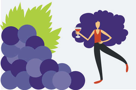 Illustration of woman drinking wine close to a bunch of grapes 矢量图像
