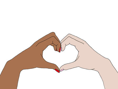 Illustration of different people raising doing an heart sign with their hands. Anti-racism concept Illustration