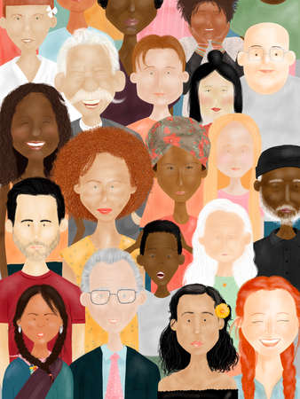 Illustration of people's faces: men, woman, young and elderly of different races, ethnicities, colors, nations and religions - Social Diversity Concept