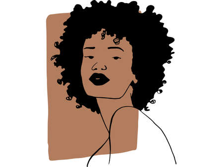 Hand draw outline portrait of african ebony woman with light bown sample color. Abstract colletion of different people and skin tones. Diversity concept