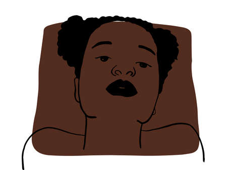 Hand draw outline portrait of african black woman with dark bown sample color. Abstract colletion of different people and skin tones. Diversity concept