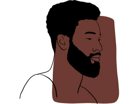 Hand draw outline portrait of african black man with bown sample color. Abstract colletion of different people and skin tones. Diversity concept