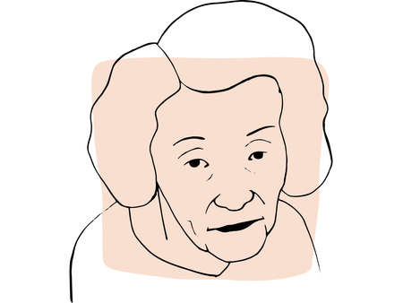Hand-draw outline portrait of old woman with light beige sample color. Abstract colletion of different people and skin tones. Diversity concept Illustration