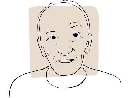 Hand-draw outline portrait of old man with light beige sample color. Abstract colletion of different people and skin tones. Diversity concept