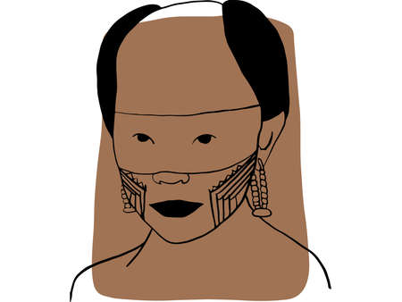Hand-draw outline portrait of a tribal man with brown sample color. Abstract colletion of different people and skin tones. Diversity concept