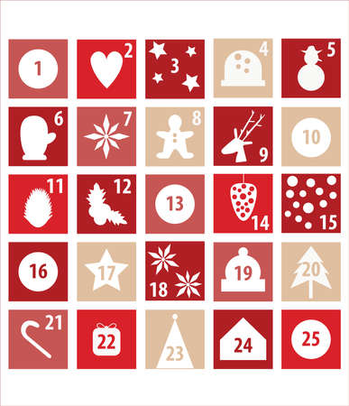Illustration of advent calendar for Christmas countdown. Red and white with xmas symbols. Vecteurs