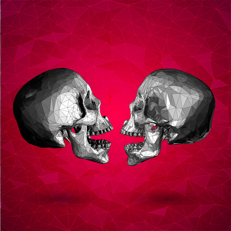 true love: Low poly graphic skull love on red background