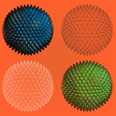 prickles: Abstract spiky geometric shape four stye for graphic