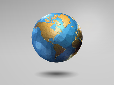 Low poly 3d shiny earth with wireframe on gray background Иллюстрация