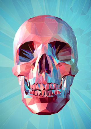 Colorful pink skull in low poly style on graphic turquoise background