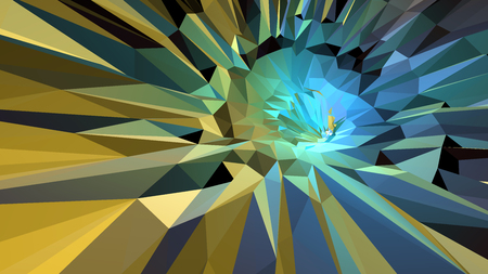 Polygonal 3d abstract background colorful in green and yellow tone Illustration