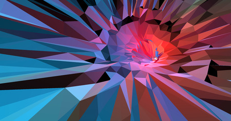 Polygonal 3d abstract background colorful in red and blue tone