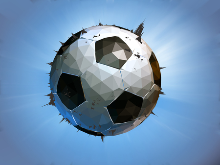 struck: Polygonal soccer ball impact to the screen on blue background