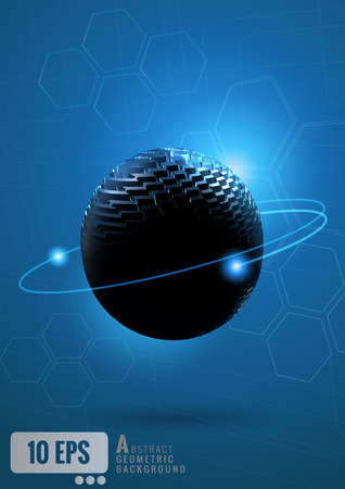 emphasis: Abstract sphere with technology conceptual on blue background