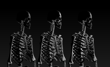 fade away: Low poly skeleton portrait side view in low key lighting fade away Illustration