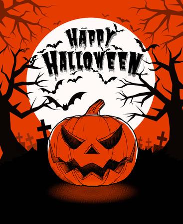Halloween pumpkin jack lantern and darkness graveyard on full moon background illustration in vintage two color style Illustration