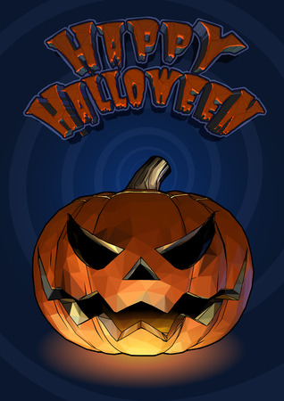 cartoony: Halloween pumpkin jack o lantern with scary expression in cartoony style on blue spiral background Illustration