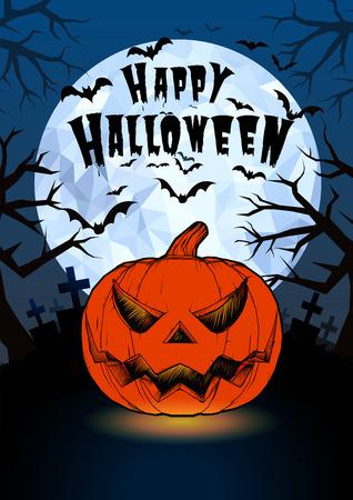alone in the dark: Halloween pumpkin jack lantern and darkness graveyard on full moon background illustration in vintage less color style Illustration
