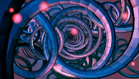 sci: Abstract spiral wire background with technology or sci fi conceptual on red purple light mood