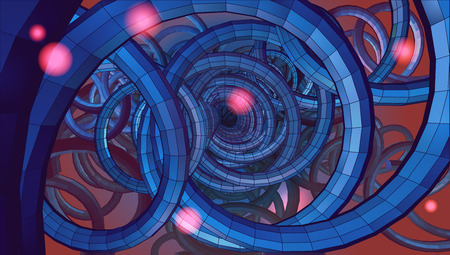 sci: Abstract spiral wire background with technology or sci fi conceptual on blue and red tone