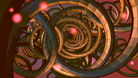 sci: Abstract spiral wire background with technology or sci fi conceptual on red and yellow light mood