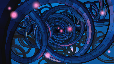 Abstract spiral wire background with technology or sci fi conceptual in low key light