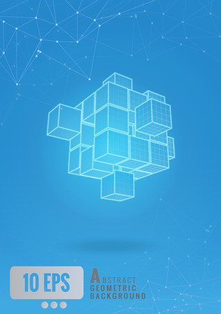 Glowing abstract geometric cube wireframe with graphic line on blue background Illustration