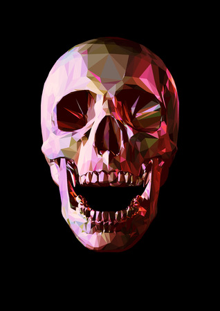 Laugh red ruby skull in low poly graphic style on dark background