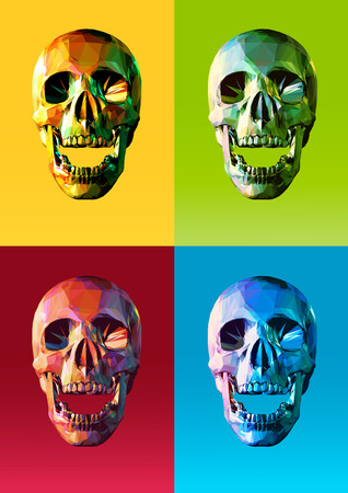 warhol: Low poly skull front in open mouth action with four colorful pop art style