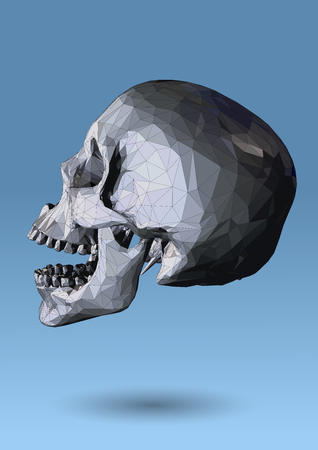 Low poly wireframe skull side view on blue background