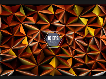 Polygonal 3D abstract background in orange gold color chinese joss paper theme Illustration
