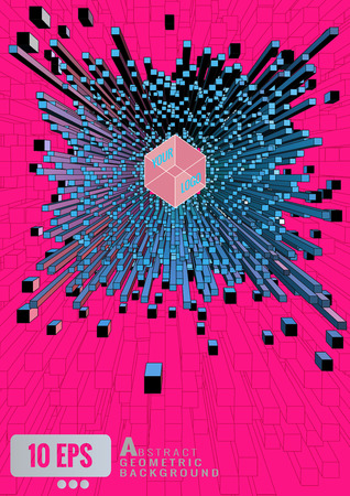 extrude: Abstract 3D geometric cube extrude on shocking pink graphic background