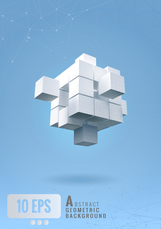 emphasis: Abstract geometric cube and wireframe set on blue background Illustration