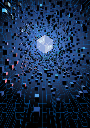 Abstract futuristic floating cubes on digital technology theme concept background