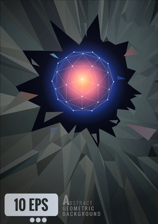 or shatter: Abstract glowing geometric wireframe shape on shatter background Illustration