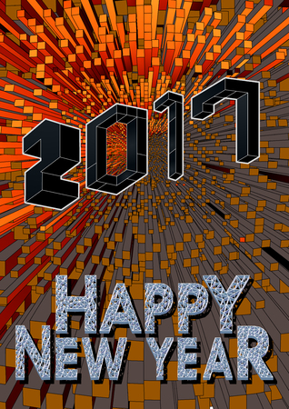 Abstract 3D geometric isometric style on shining orange graphic background for happy new year celebration Illusztráció