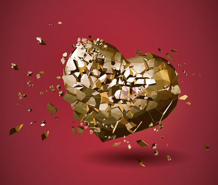 Broken golden polygonal heart illustration on red background