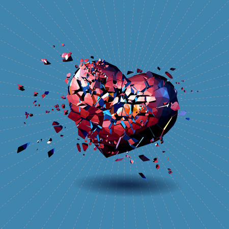 Red polygonal broken heart illustration on shining line and blue turquoise background