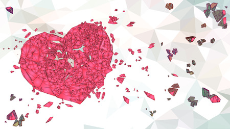 Abstract pink polygonal broken heart graphic illustration on bright low poly background