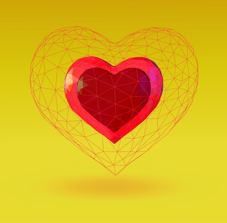 Abstract geometric heart symbol in polygonal wireframe cage on yellow background  イラスト・ベクター素材